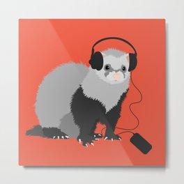 Music Loving Ferret Metal Print