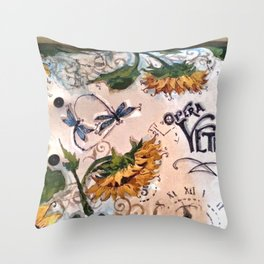 Late Summer Sunflower Throw Pillow