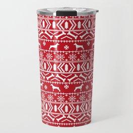 Doberman Pinscher fair isle christmas sweater cute dog breed gifts Travel Mug