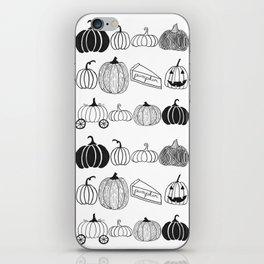 Pumpkin Ink Pattern Black and White iPhone Skin