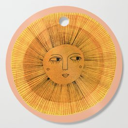 Sun Drawing Gold and Pink Cutting Board