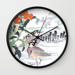 Birds In Swamp Water And Lily Flowers - Vintage Japanese Woodblock Print Art By Kono Bairei Wall Clock