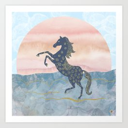 Rearing Horse in the Morning Sunrise - Ornamental Gold Theme Art Print