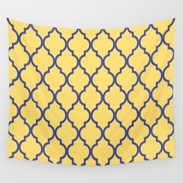 Classic Quatrefoil Lattice Pattern 737 Blue and Yellow Wall Tapestry