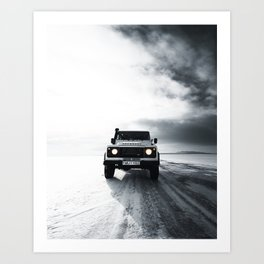 landrover defender in iceland Art Print