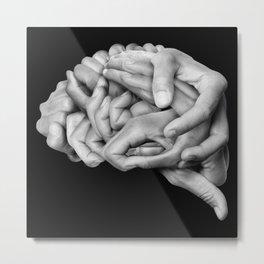 Human brain made with hands Metal Print