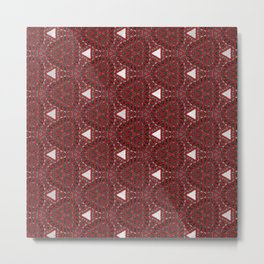 Decorative Multi Pattern Red White Design Metal Print