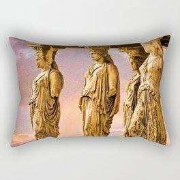 Porch of the Caryatids, Temple of Athena, Acropolis, Greece Portrait Painting Rectangular Pillow