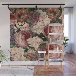 Vintage & Shabby Chic Pink Dark Floral Roses Lilacs Flowers Watercolor Pattern Wall Mural