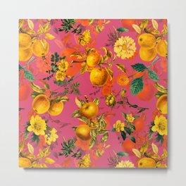 Vintage & Shabby Chic - Summer Golden Apples Pink Flowers Garden Metal Print