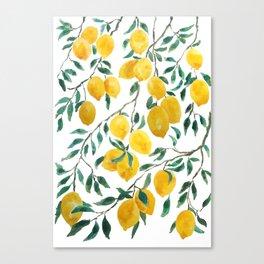 yellow lemon watercolor 2020 Canvas Print