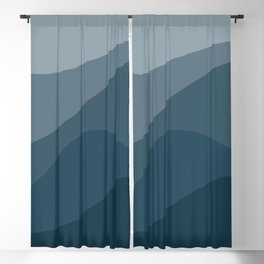 Abstract Color Waves - Blue Palette Blackout Curtain