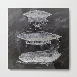 chalkboard art victorian steampunk hot air balloon airship patent print Metal Print