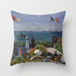 Claude Monet - Garden at Sainte-Adresse (1867) Throw Pillow