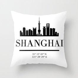 SHANGHAI CHINA BLACK SILHOUETTE SKYLINE ART Throw Pillow