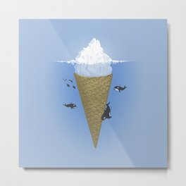 Ice Cream and Whale Metal Print