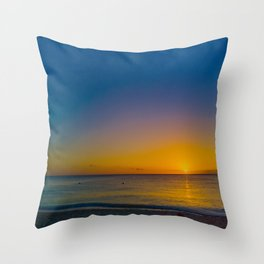 Setting Sun And Sea Throw Pillow