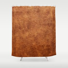 Brown vintage faux leather background Shower Curtain