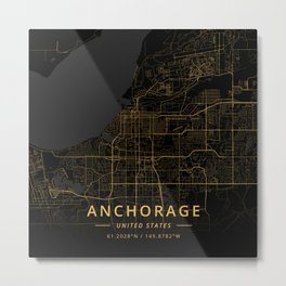 Anchorage, United States - Gold Metal Print