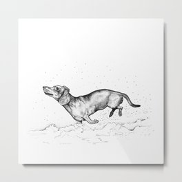 Dachshund, dog lover, daschund in the snow, doggy present, sausage dog T-Shirt Metal Print