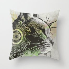 Tides Of Tomorrow: Lime | mandala cat portrait Throw Pillow