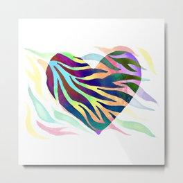 Rainbow Zebra Print Heart! Metal Print