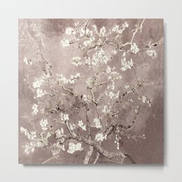 Van Gogh Almond Blossoms Beige Taupe Metal Print