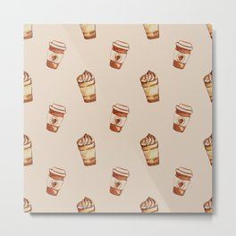 Coffee To Go - Beige Metal Print