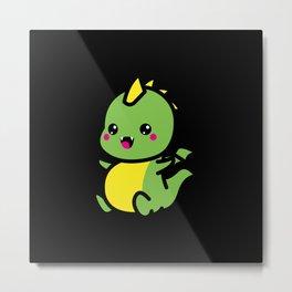 Kawaii Cute Cute Dragon Gift Idea Motif Metal Print