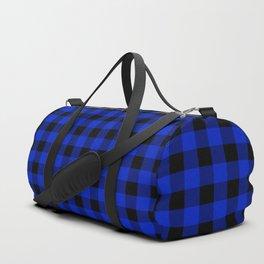 Cobalt Blue Cowboy Buffalo Check Plaid Duffle Bag