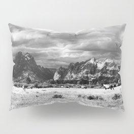 Horse and Grand Teton (Black and White) Pillow Sham