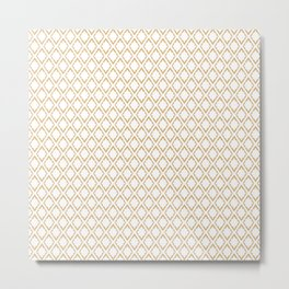 French Pattern Repeating Diamonds Gold Metal Print