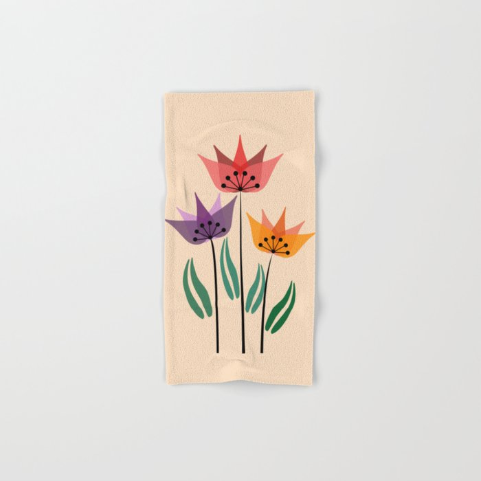 Retro tulips Hand & Bath Towel
