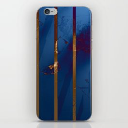 Electric Blue Abstract with Gold Stripes iPhone Skin