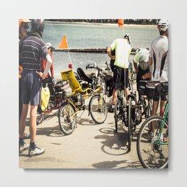 Group Of Cyclists At St Kilda Metal Print
