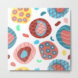 Colorful Irregular Shapes Circles Lines and Dots Metal Print