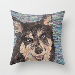 huskie on blue background Throw Pillow