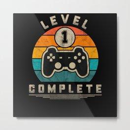 Level 1 Complete Retro Gaming Geek Gift Idea Metal Print