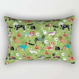 Dogs halloween costumes cute pumpkin ghost skeleton witch trick or treat Rectangular Pillow