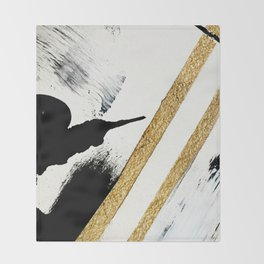 Armor [8]: a minimal abstract piece in black white and gold by Alyssa Hamilton Art Throw Blanket