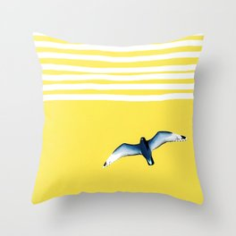 Soaring - sunshine stripe sky Throw Pillow