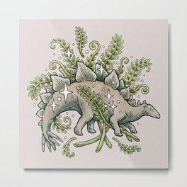 Stegosaurus & Ferns   Dinosaur Botanical Art Metal Print