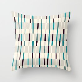 Irregular hand drawn stripes in a grid Throw Pillow