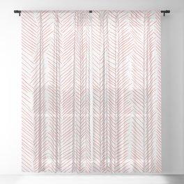 Living Coral Herringbone Sheer Curtain