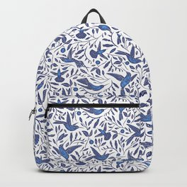 Delft Blue Humming Birds & Leaves Pattern Backpack