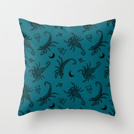 Scorpio Moon on Teal Throw Pillow
