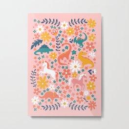Floral Burst of Dinosaurs + Unicorns Metal Print