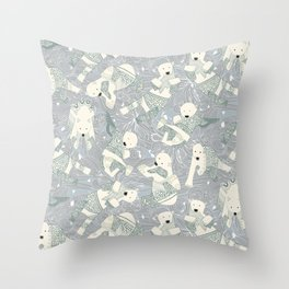 arctic polar bears silver Throw Pillow