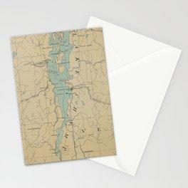 Vintage Lake Champlain Lighthouse Map (1896) Stationery Cards