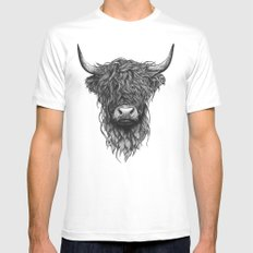 Highland Cow White MEDIUM Mens Fitted Tee